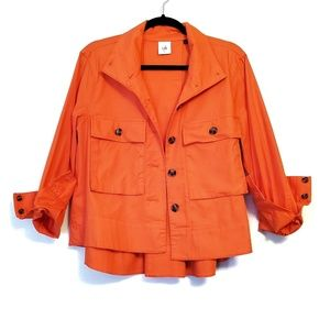 CAbi | Orange Tortoise Button Utility Jacket M